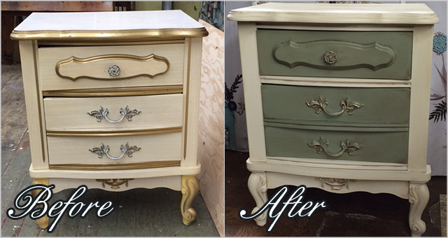 Before and after: French provincial style side table