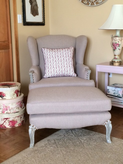 Classic traditional wing chair with matching ottoman
